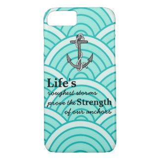 Life's roughest storms Blue Anchor Blue wave iPhone 7 Case