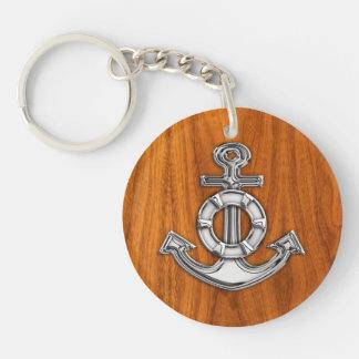 Lifesaver Chrome Anchor on Teak Veneer Styles Double-Sided Round Acrylic Key Ring