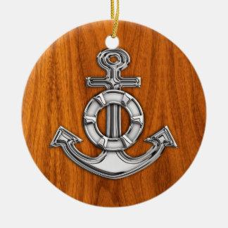 Lifesaver Chrome Like Anchor on Teak Veneer Christmas Ornament