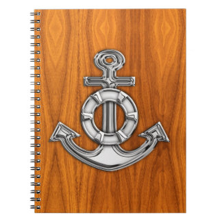 Lifesaver Chrome Like Anchor on Teak Veneer Spiral Notebook