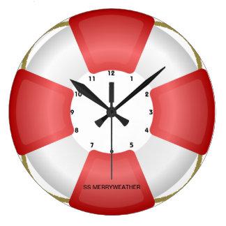 lifesaver lifebuoy nautical clock with own text