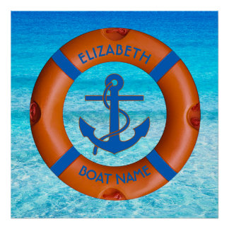 Lifesaver With Anchor And Sea Boat Or Yacht Owner Poster