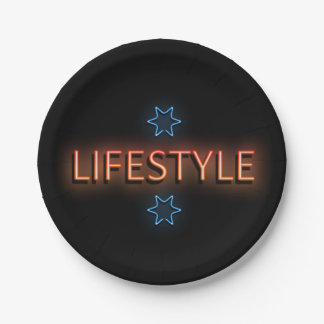 Lifestyle neon sign. paper plate