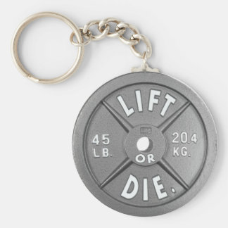 """Lift Or Die 45 lb Plate on 2.25"""" Keychain. Basic Round Button Key Ring"""