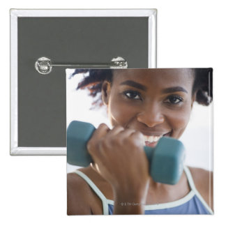Lifting Weights 15 Cm Square Badge