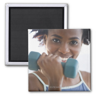 Lifting Weights Square Magnet