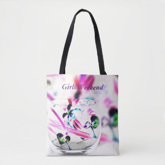 "Light Airy Orchids Glass Overlay ""Girls Weekend"" Tote Bag"