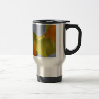 light and bright orange green abstract image stainless steel travel mug