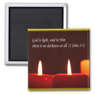 Light and Candle (with text)Magnet Square Magnet