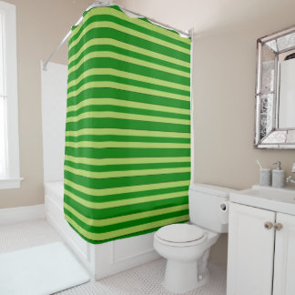 Light And Dark Green Stripes Shower Curtain