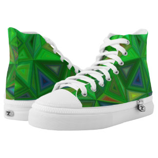 Light and Dark Green Triangles High Tops