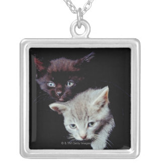 Light and Dark Kittens Silver Plated Necklace
