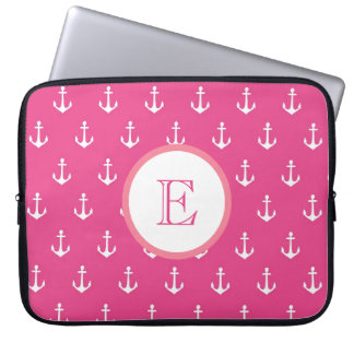 Light and Dark Pink Anchor Laptop Sleeve