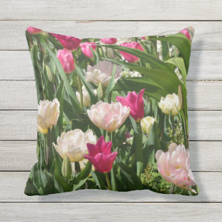 light and dark pink tulip throwpillow