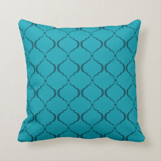Light and Dark Teal Moroccan Pattern Cushion