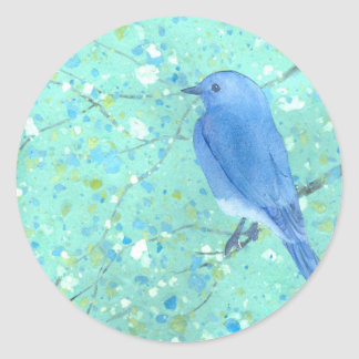 Light and delicate bluebird round sticker