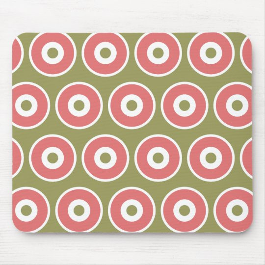 Light and Sweet Tan Coral Circle Pattern Mouse Mat