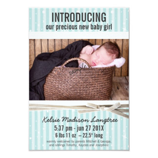 Light Aqua Baby Girl Birth Announcement