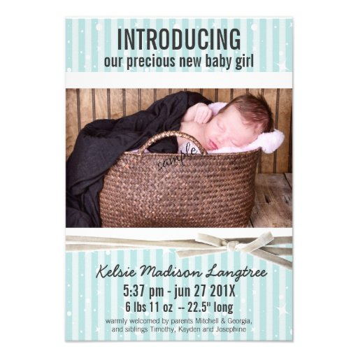 Light Aqua Baby Girl Birth Announcement
