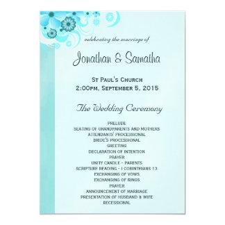 Light Aqua Blue Turquoise Floral Wedding Program 13 Cm X 18 Cm Invitation Card