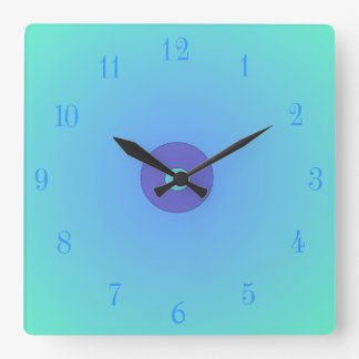 Light Aqua /Green Mauve Centre  >Plain Wall Clocks