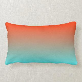 Light Aqua Orange Ombre Lumbar Cushion