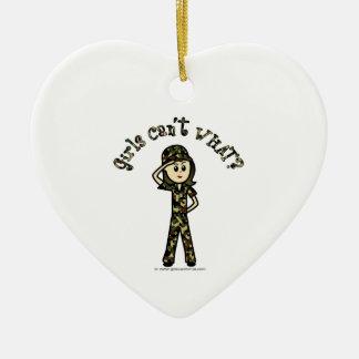 Light Army Woman Ceramic Heart Decoration