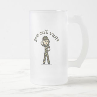 Light Army Woman Frosted Glass Beer Mug