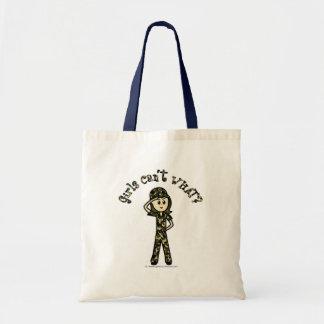 Light Army Woman Budget Tote Bag