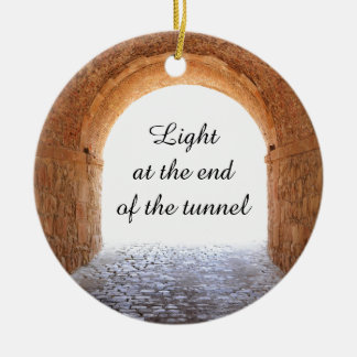 Light at the end of the tunnel round ceramic decoration
