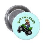 Light ATV | Four Wheeling Girl 6 Cm Round Badge