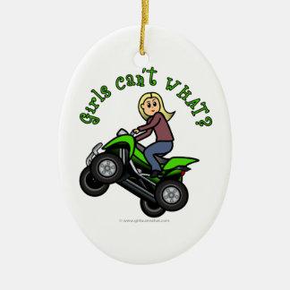 Light ATV | Four Wheeling Girl Ceramic Oval Decoration