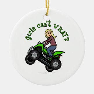 Light ATV | Four Wheeling Girl Christmas Ornament