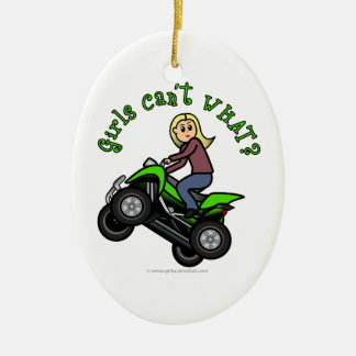 Light ATV | Four Wheeling Girl Christmas Ornament