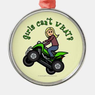 Light ATV | Four Wheeling Girl Silver-Colored Round Decoration