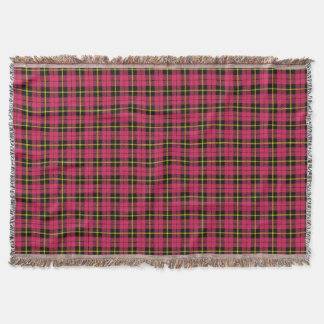 light Autumn pink plaid print, black yellow stripe Throw Blanket