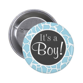 Light Baby Blue Giraffe Animal Print 6 Cm Round Badge