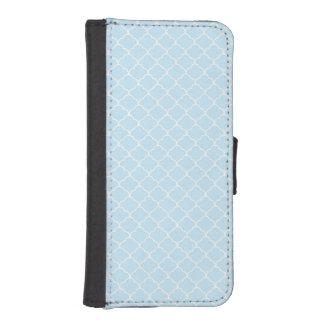 Light Baby Blue Moroccan Quatrefoil iPhone 5 Wallet Case