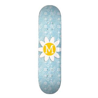 Light Baby Blue Paisley Daisy Skate Board