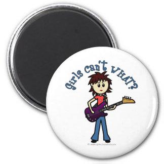 Light Bass Guitar Girl 6 Cm Round Magnet
