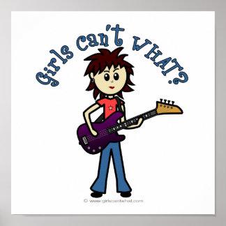 Light Bass Guitar Girl Poster