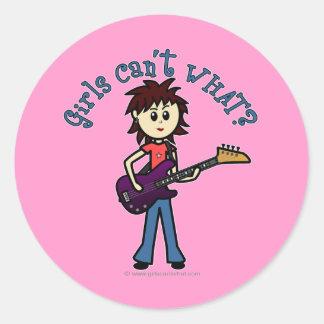 Light Bass Guitar Girl Round Stickers