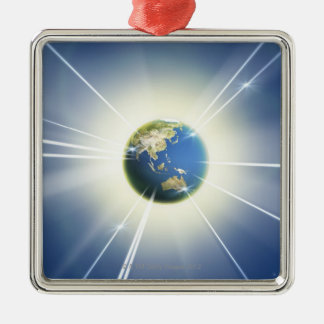Light Beams from Earth 2 Christmas Ornament