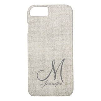 Light beige ecru Dark Grey Linen White Monogram iPhone 8/7 Case