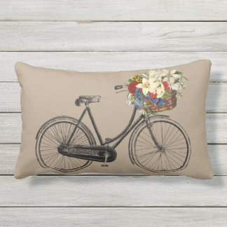 Light  bicycle flower   outdoor pillow taupe