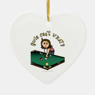 Light Billiards Girl Christmas Ornament