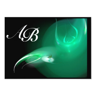 LIGHT BIRD IN GREEN MONOGRAM 13 CM X 18 CM INVITATION CARD