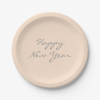 Light Bisque Happy New Year Event Template Paper Plate