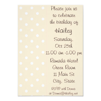 "Light Bisque Polka Dot Birthday Party Invitation 5"" X 7"" Invitation Card"
