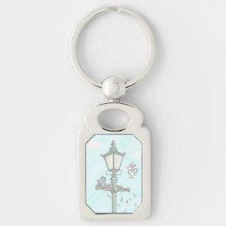 Light, Blossom and Woodland Creatures Silver-Colored Rectangle Key Ring